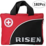 First Aid Kit, Risen Waterproof Multi Purpose Survival First Aid Kit Contains 182PCS First Aid Supplies, Compact Emergency First Aid Kit for Businesses Workplace School Home Car Travel Hiking Camping