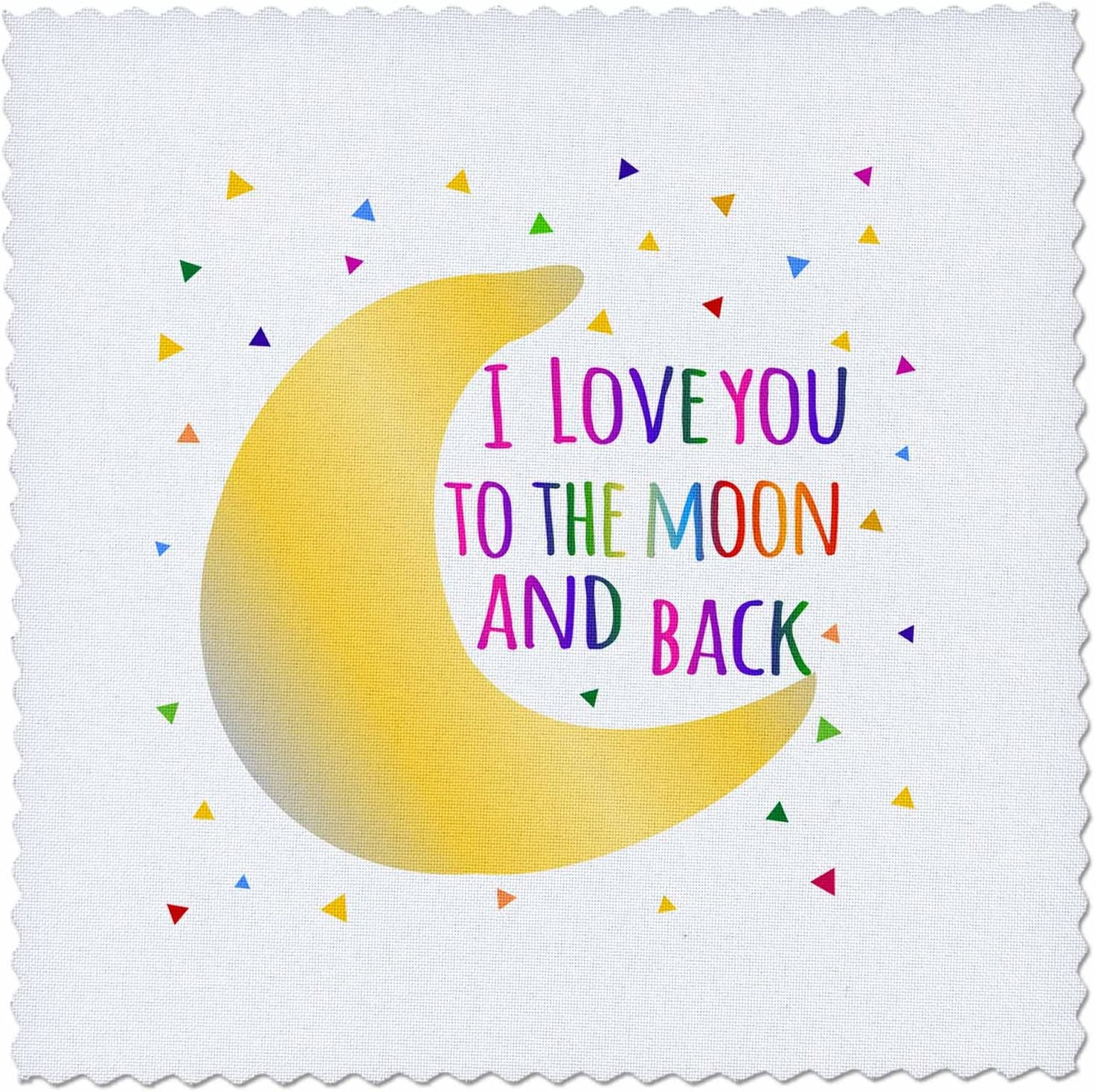 10 by 10-inch qs/_202101/_1 3dRose I love you to the moon and back Quilt Square colorful rainbow text on white