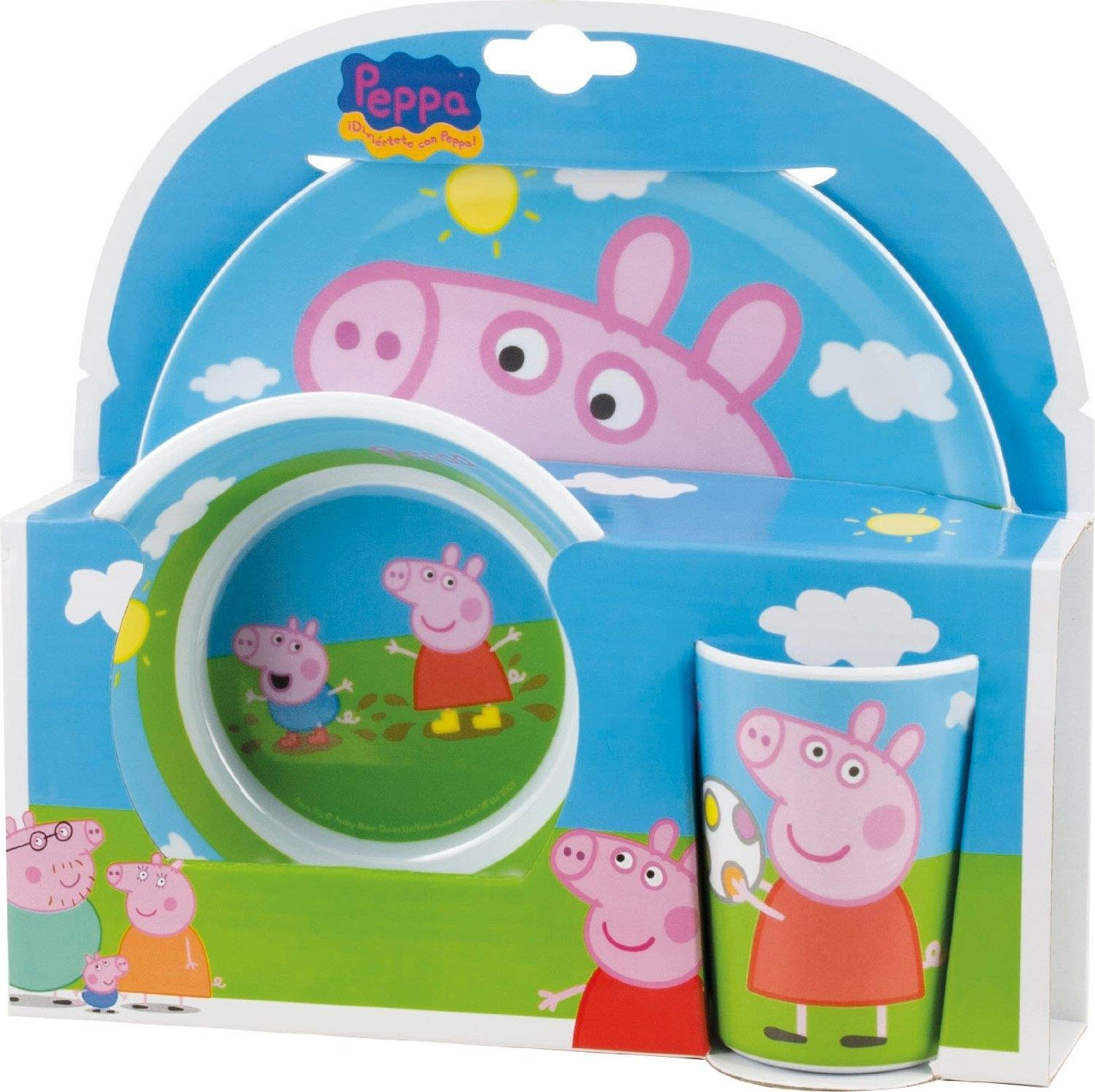 Joy Toy Peppa Pig Melamine Plate, Bowl and Cup Set 748690