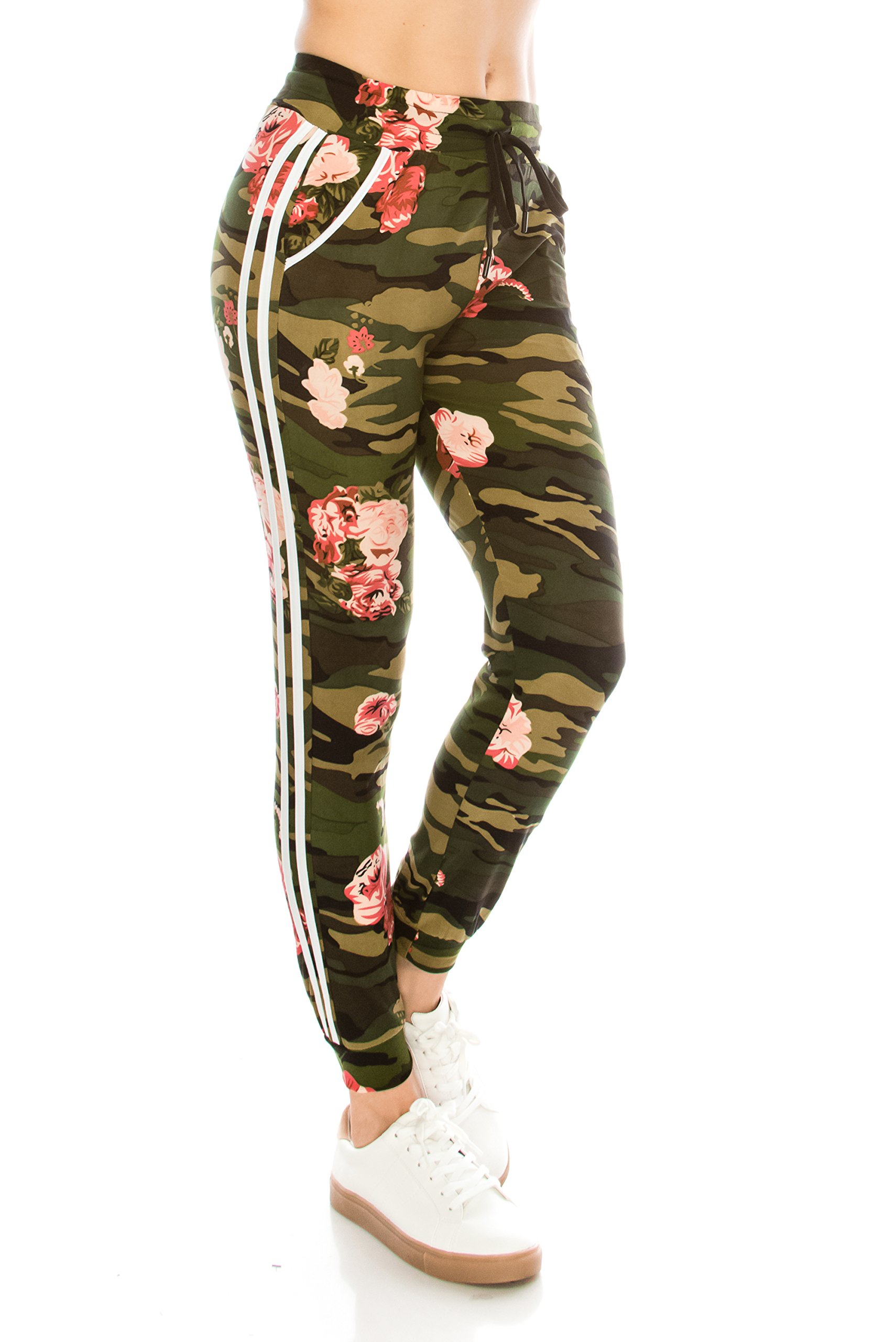 ALWAYS Women Drawstrings Jogger Sweatpants - Skinny Camo Soft Pockets Pants L/XL
