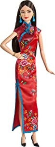 Barbie Signature Lunar New Year Doll (12-inch Brunette) Wearing Red Satin Cheongsam Dress with Accessories, Collectible Gift for Kids & Collectors
