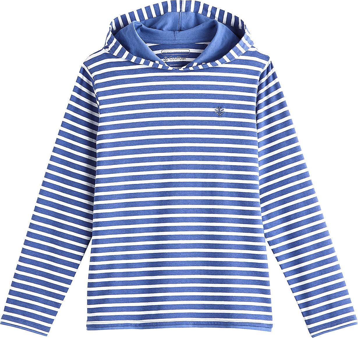 Coolibar UPF 50+ Kids' Oasis Pullover Hoodie - Sun Protective (Medium- Empire Blue/White Stripe)