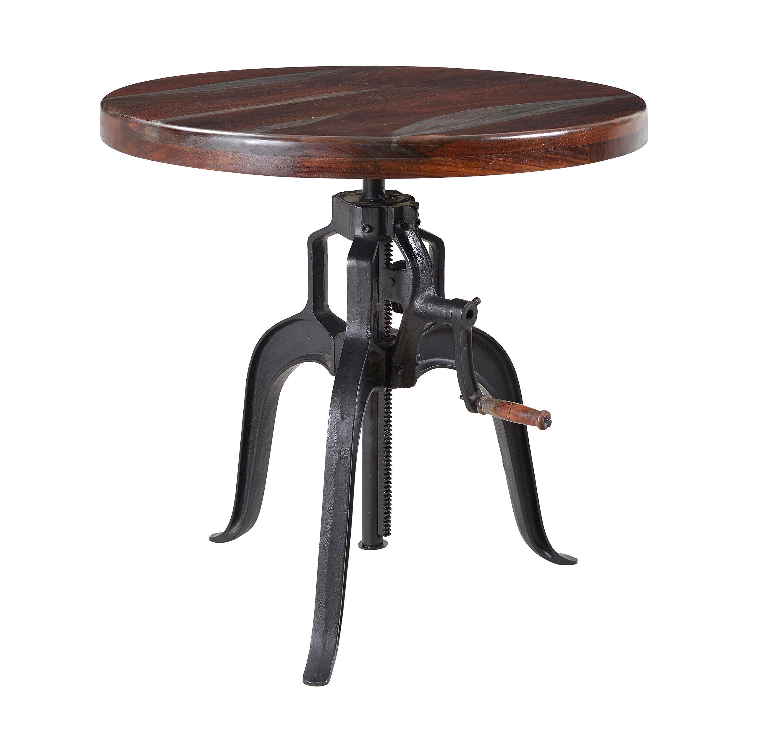 Treasure Trove Grey Top Black Legs Adjustable Accent Table, Brown