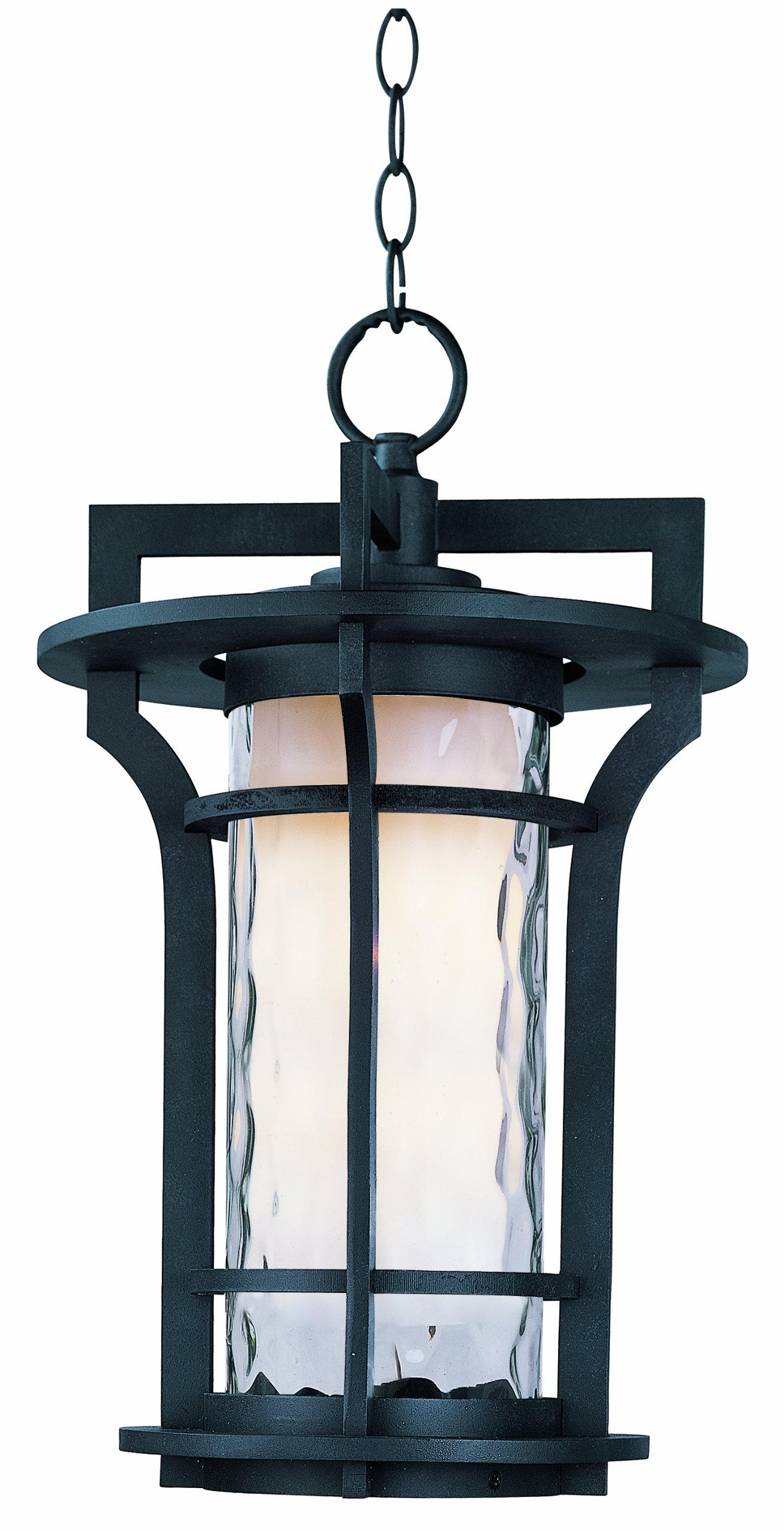 Maxim 30488WGBO Oakville 1-Light Outdoor Hanging Lantern, Black Oxide Finish, Water Glass Glass, MB Incandescent Incandescent Bulb , 9W Max., Wet Safety Rating, Shade Material, 800 Rated Lumens by Maxim Lighting