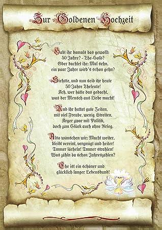 Geschenk Goldene Hochzeit Urkunde Gedicht Prasent Jubilaum Amazon