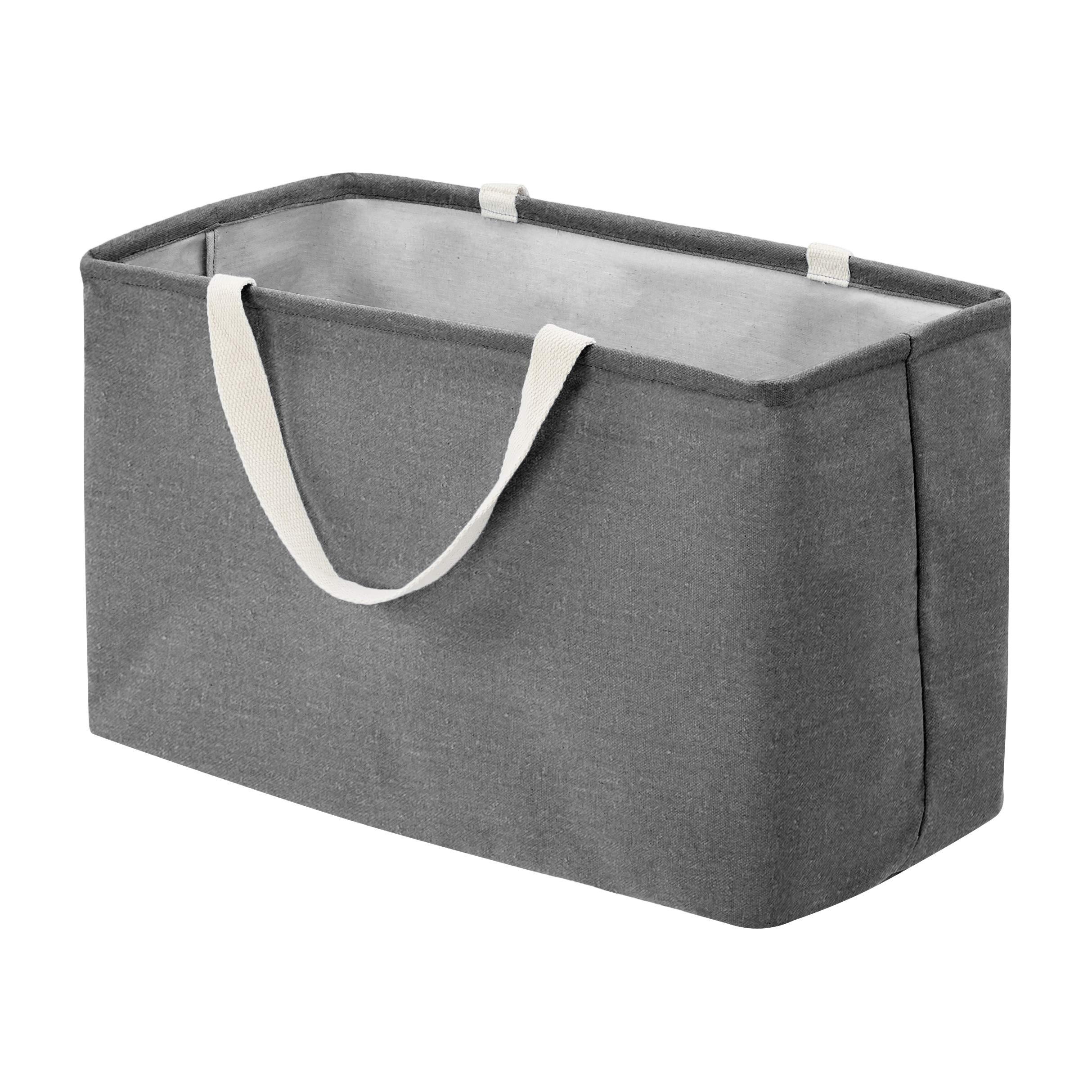 Amazon Basics Fabric Storage Bin - Large Rectangle, Charcoal Grey