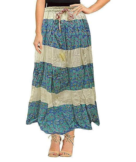 PEEGLI Falda Larga Azul Casual Casual para Mujer India Falda De ...