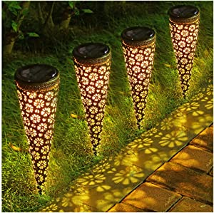 LITAKE Solar Garden Pathway Lights,Metal Solar Lantern Lights Outdoor, Waterproof Decorative Solar Garden Stake Lights for Walkway Patio Yard, 4 Packs