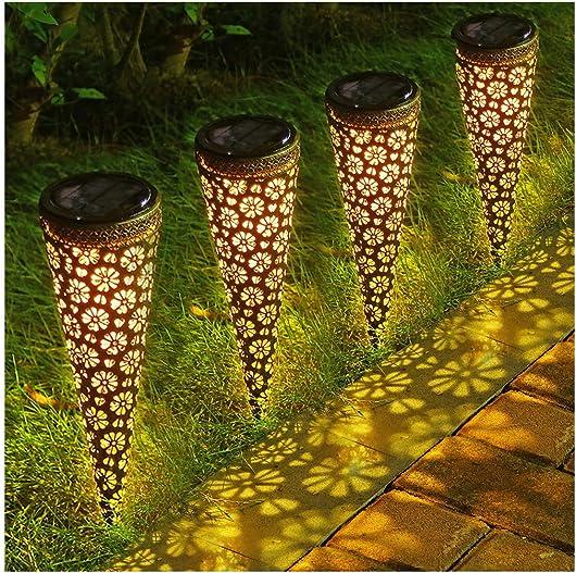 LITAKE Solar Garden Lights,Metal Solar Lantern Lights Outdoor, Waterproof Decorative Solar Garden Stake Lights for Walkway Patio Yard, 4 Packs