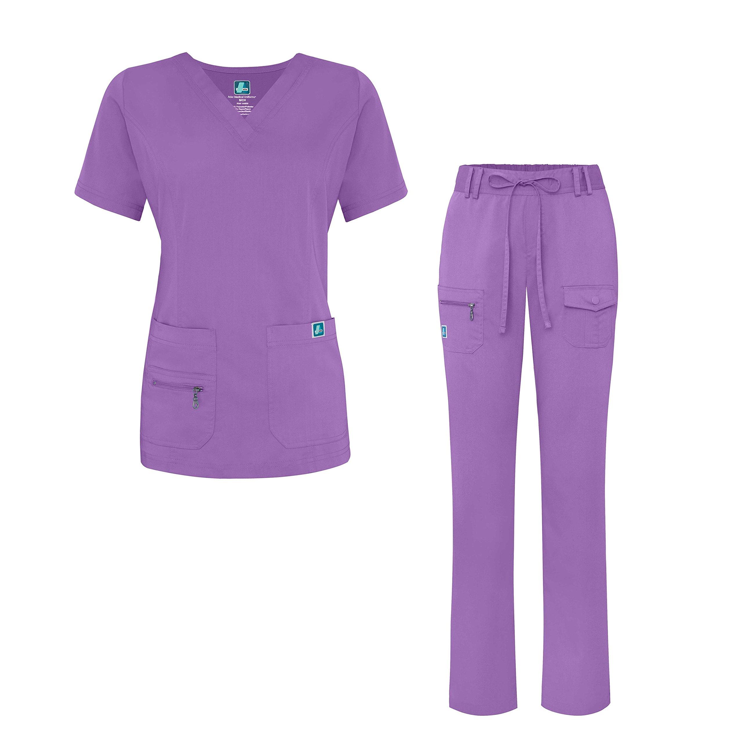 Adar Indulgence Jr. Fit Women's Scrub Set - Enhanced V-Neck Top/Multi Pocket Pants - 4400 - Lavender - M