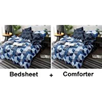 Kuber Industries Square Design Glace Cotton AC Comforter King Size Bed Comforter, Double Bed Sheet, 2 Pillow Cover (Blue, 90x100 Inches)-Set of 4 Pieces-CTKTC33192