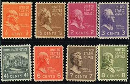PREXIE MIX EIGHT STAMPS FROM THE PRESIDENTIAL SERIES FRANKLIN BENJAMIN JOHN