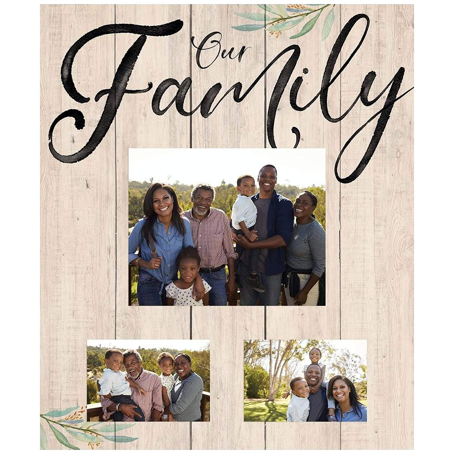 Graham Dunn Our Family Natural Brown 21 x 18 Pine Wood Wall and Tabletop Photo Frame P