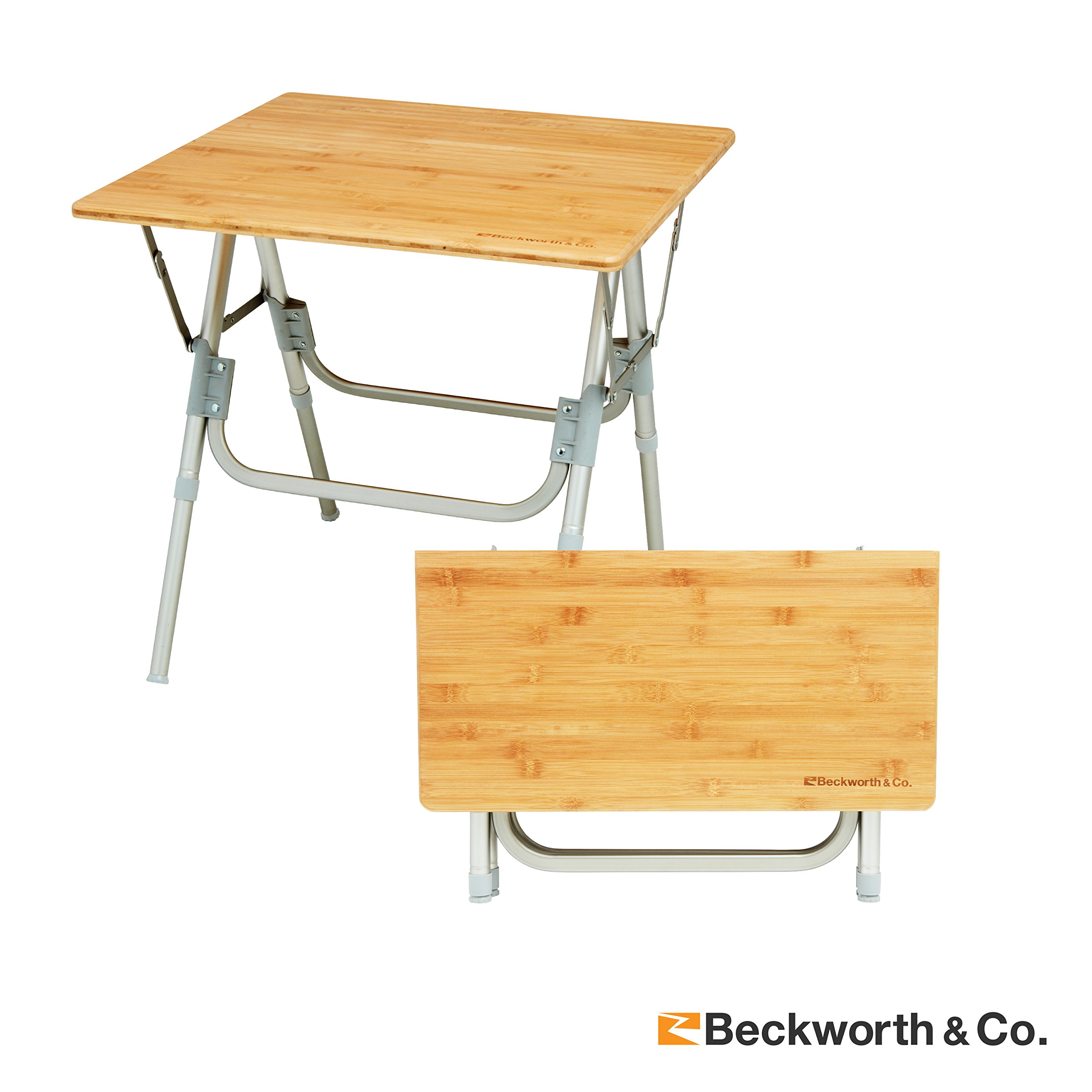 Beckworth & Co.. HalfFlip Bamboo Portable Outdoor Picnic Folding Table with Adjustable Height - Square by Beckworth & Co.