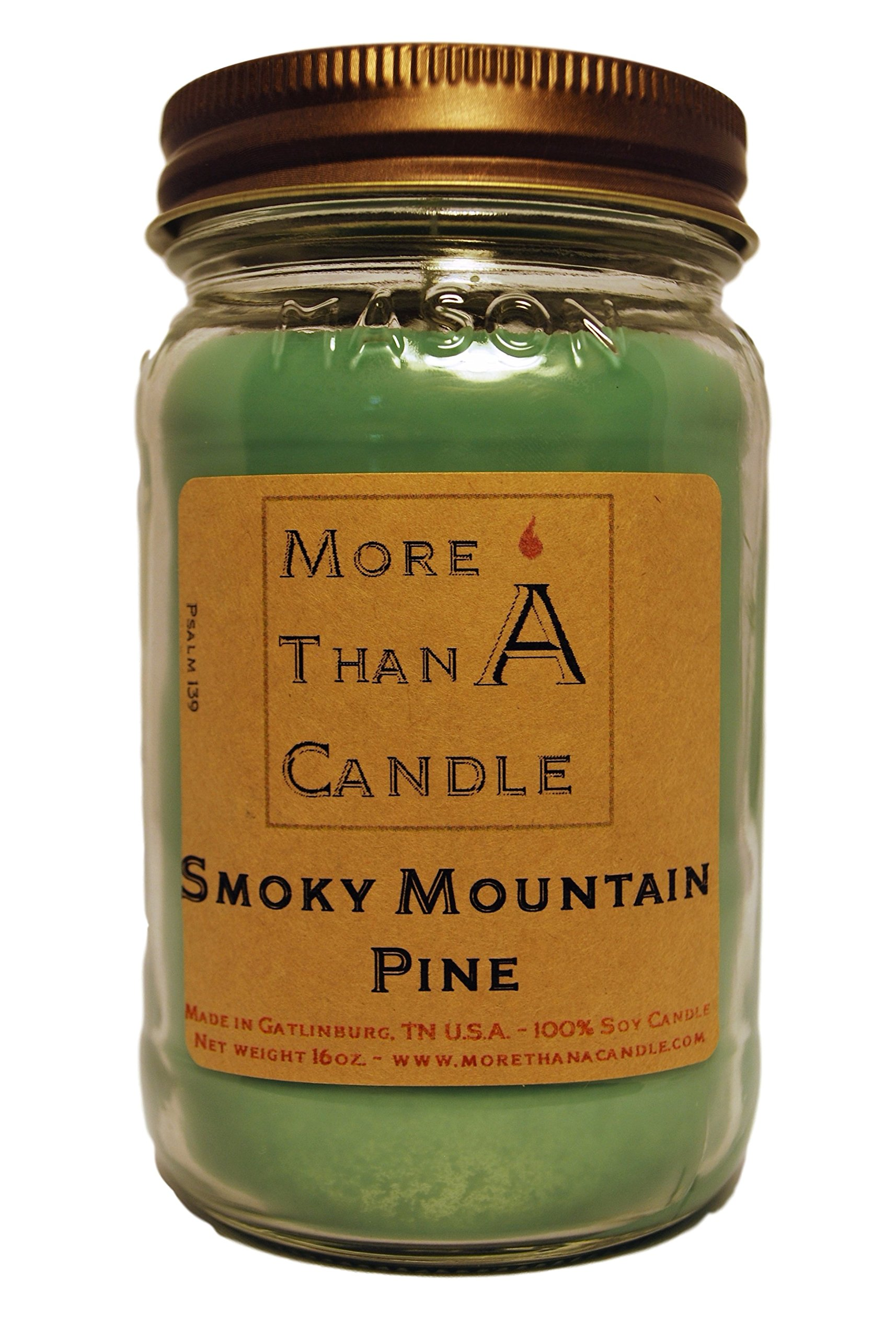 More Than A Candle 16 oz Mason Jar Soy Candle - Made in the USA Smoky Mountain Pine