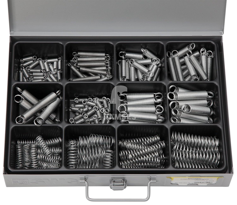 EisenRon DS-tec - Sortiment Zug- und Druckfedern 0,6 x 6,0 x 25 - 1,5 x 15,0 x 65 mm 176 Teile