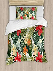 Ambesonne Leaf Duvet Cover Set, Hawaiian Summer Tropical Island Vegetation Leaves with Hibiscus Flowers, Decorative 2 Piece Bedding Set with 1 Pillow Sham, Twin Size, Orange Yellow