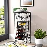 mecor Metal Wine Rack,Free Standing Wine Storage Shelves for 15 Bottle,Wine Display with 3 Stem Glass Holder,Wood Top,Black