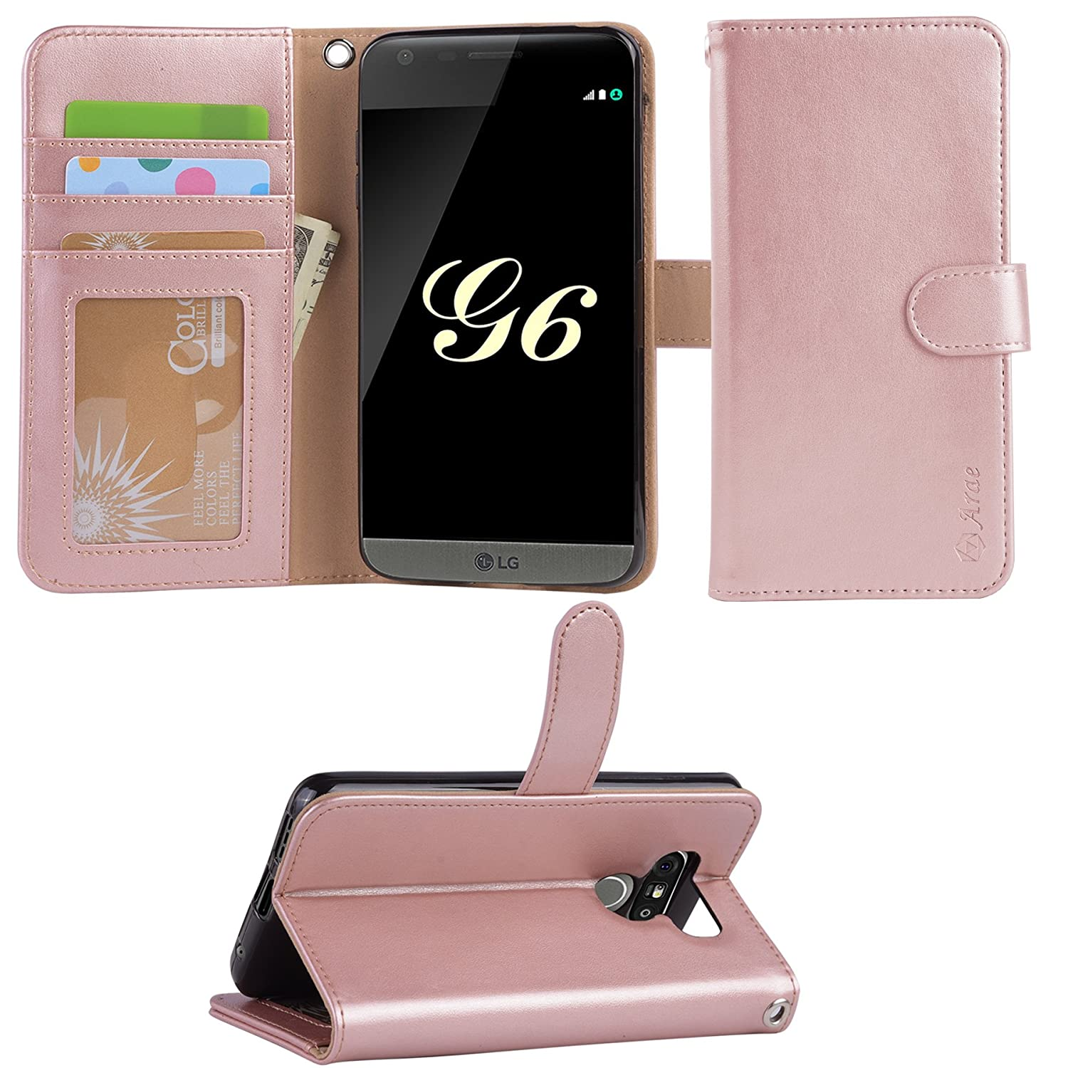 brand new 9da5b ddb48 Arae LG G6 case, LG G6 Wallet Case with Kickstand and Flip Cover, Rosegold