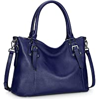 S-ZONE Women's Vintage Genuine Leather Tote Large Shoulder Bag Upgraded Version with Outside Pocket