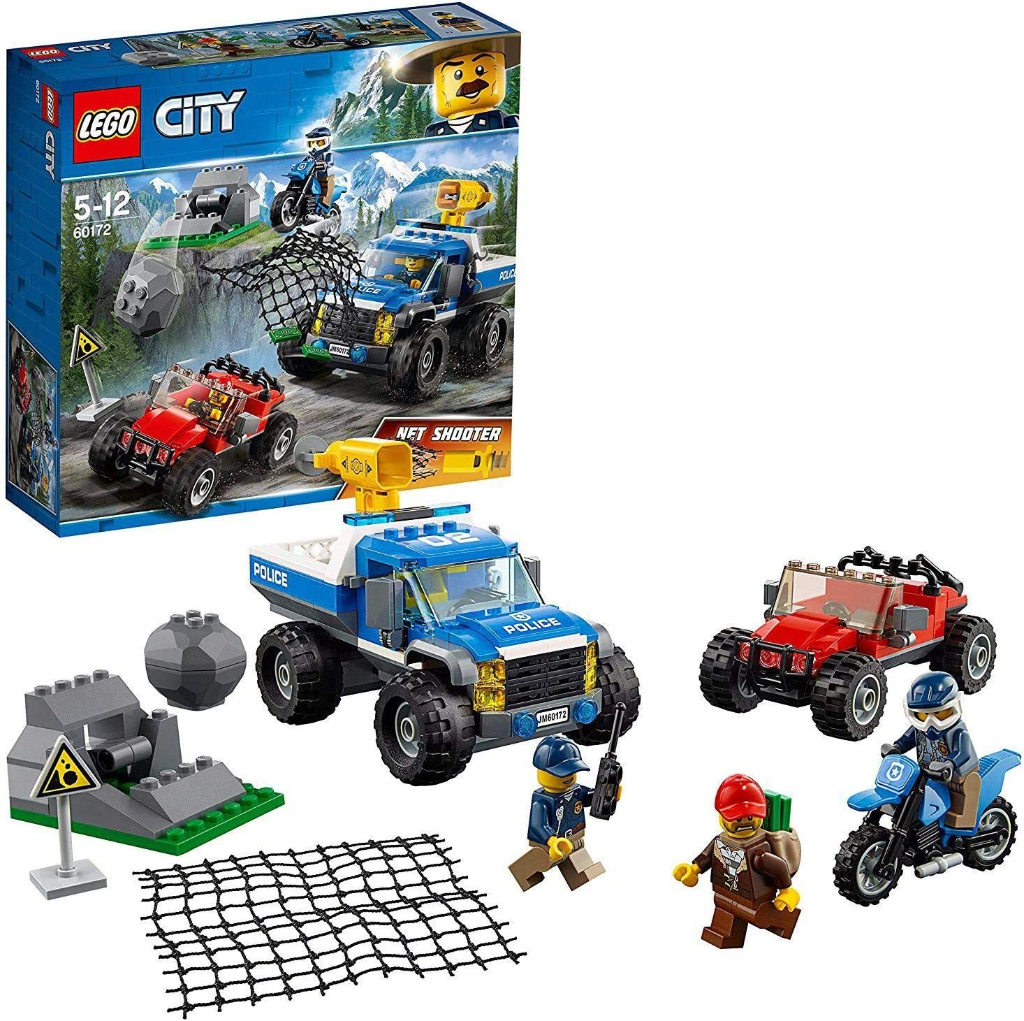 LEGO City Mountain Dirt Road Pursuit Police Building Set, Police 4x4 Toy Car & Buggy, Police Toys for Kids