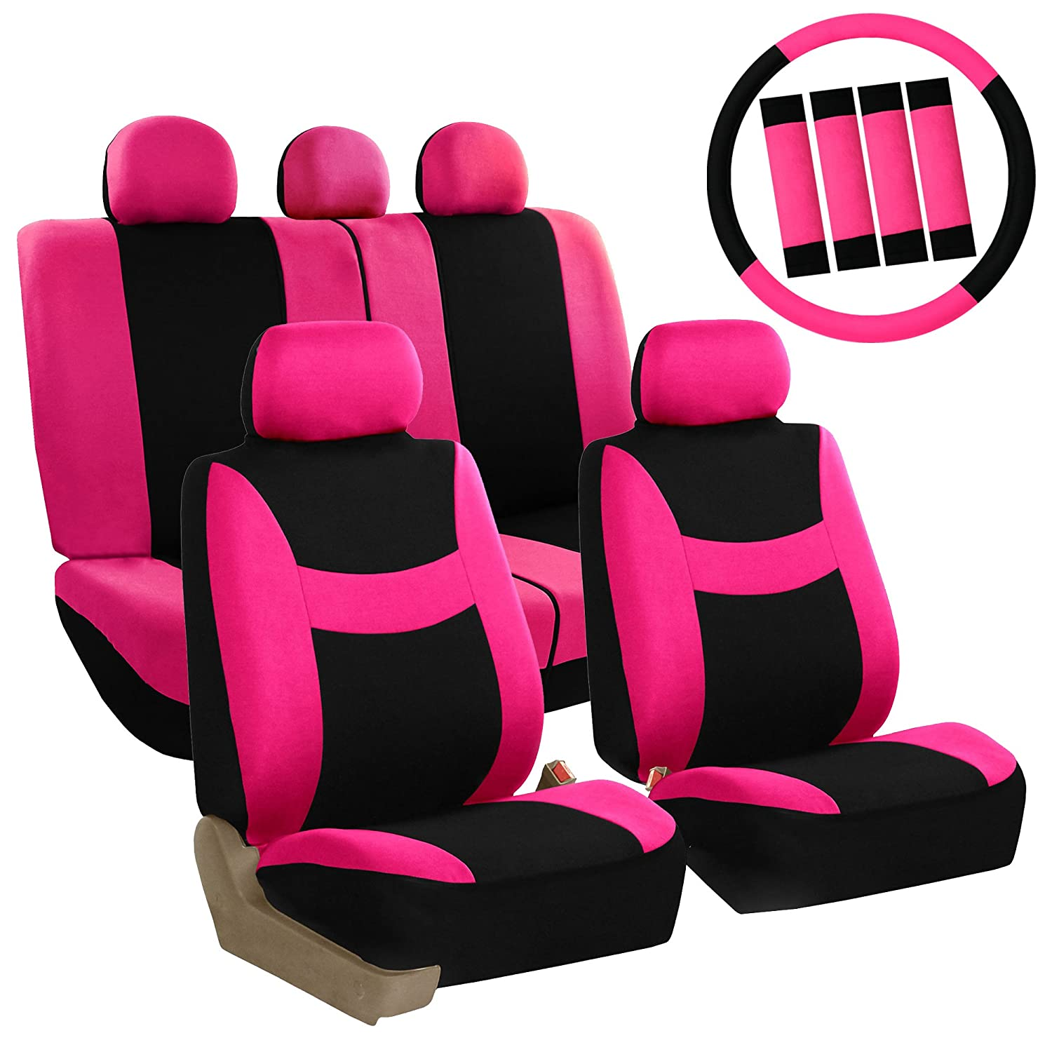 Amazon FH GROUP FB030115 Light Breezy Pink Black Cloth Seat Cover Set W Steering Wheel Belt Pads And Floor Mats Fit Most Car Truck