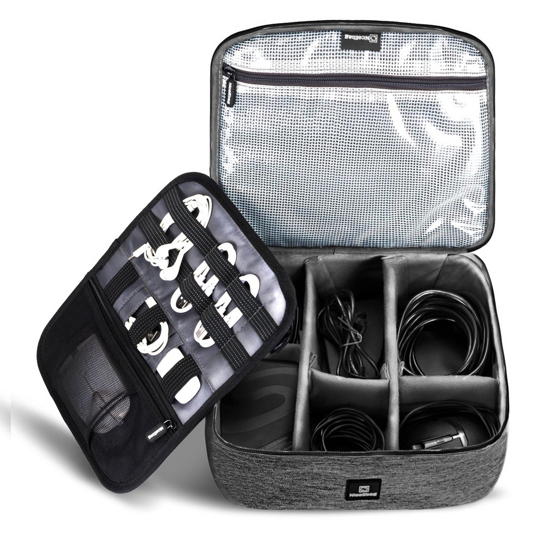 NiceEbag Cable Organizer Travel Bag,Electronics Accessories Organizer,Electronics Organizer Travel Bag and Travel Electronic Accessories Storage Bag for Cables,Phone,Power Bank, Mouse,iPad - Black