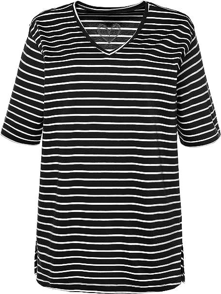 Ulla Popken Women's Plus Size Relaxed Fit Striped Knit Tee 716422