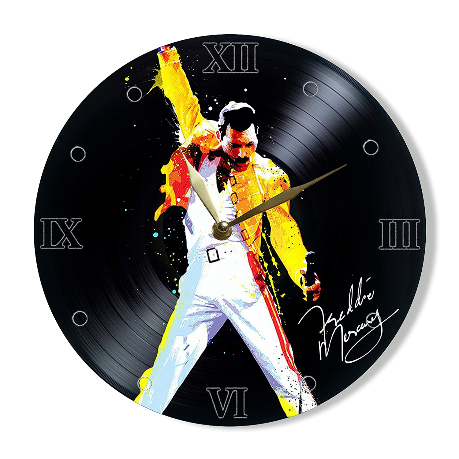 "SofiClock Freddie Mercury frontman Queen Vinyl Clock Painted 12"" - Wall Clock Queen Rock Band - Best Gift for Rock Music Lover - Original Wall Home Decor (Vinyl Clock Painted)"