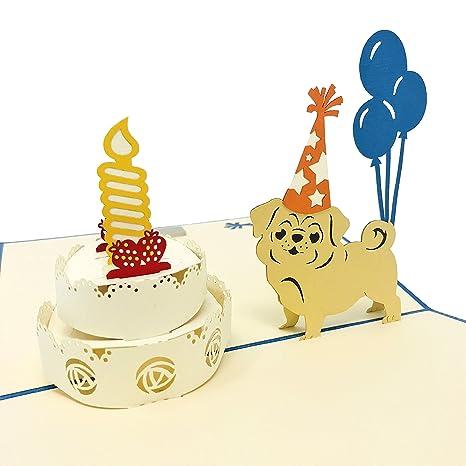 Amazon.com: Perro de cumpleaños – wow 3d Pop Up Tarjeta de ...