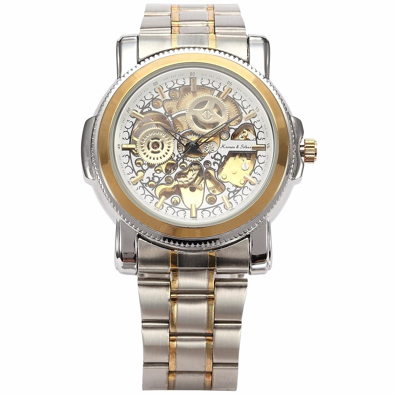 ++ Canaloha : ) + +メンズスチームパンクRoyal CarvingホワイトスケルトンKS自動機械ドレス腕時計 B01332I4PE