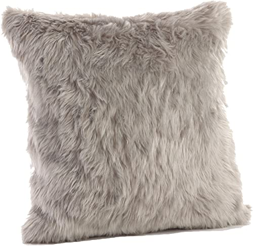 Occasion Gallery Grey Faux Fur Winter Holiday Decorative Throw Pillow – Filled, 20 Square