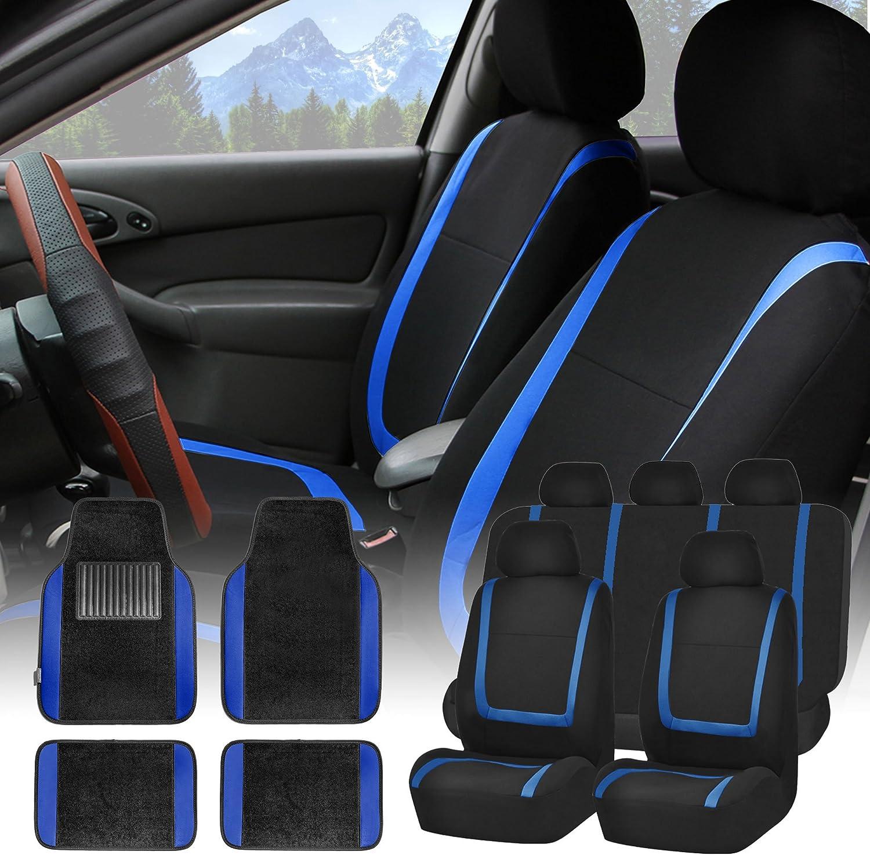FH Group FH-FB032115 Unique Flat Cloth Seat Covers with F14407 Premium Carpet Floor Mats Blue/Black- Fit Most Car, Truck, SUV, or Van