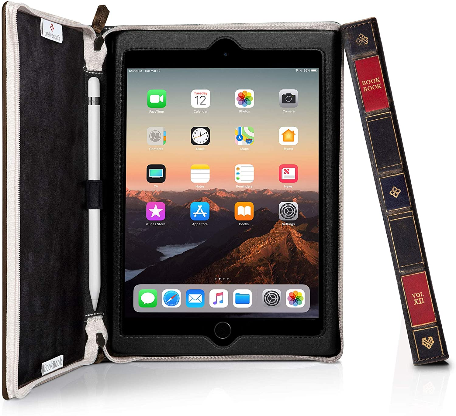 Twelve South BookBook Case for iPad Mini 5   Hardback Leather Cover with Multi-Angle Viewing and Apple Pencil Slot (brown)