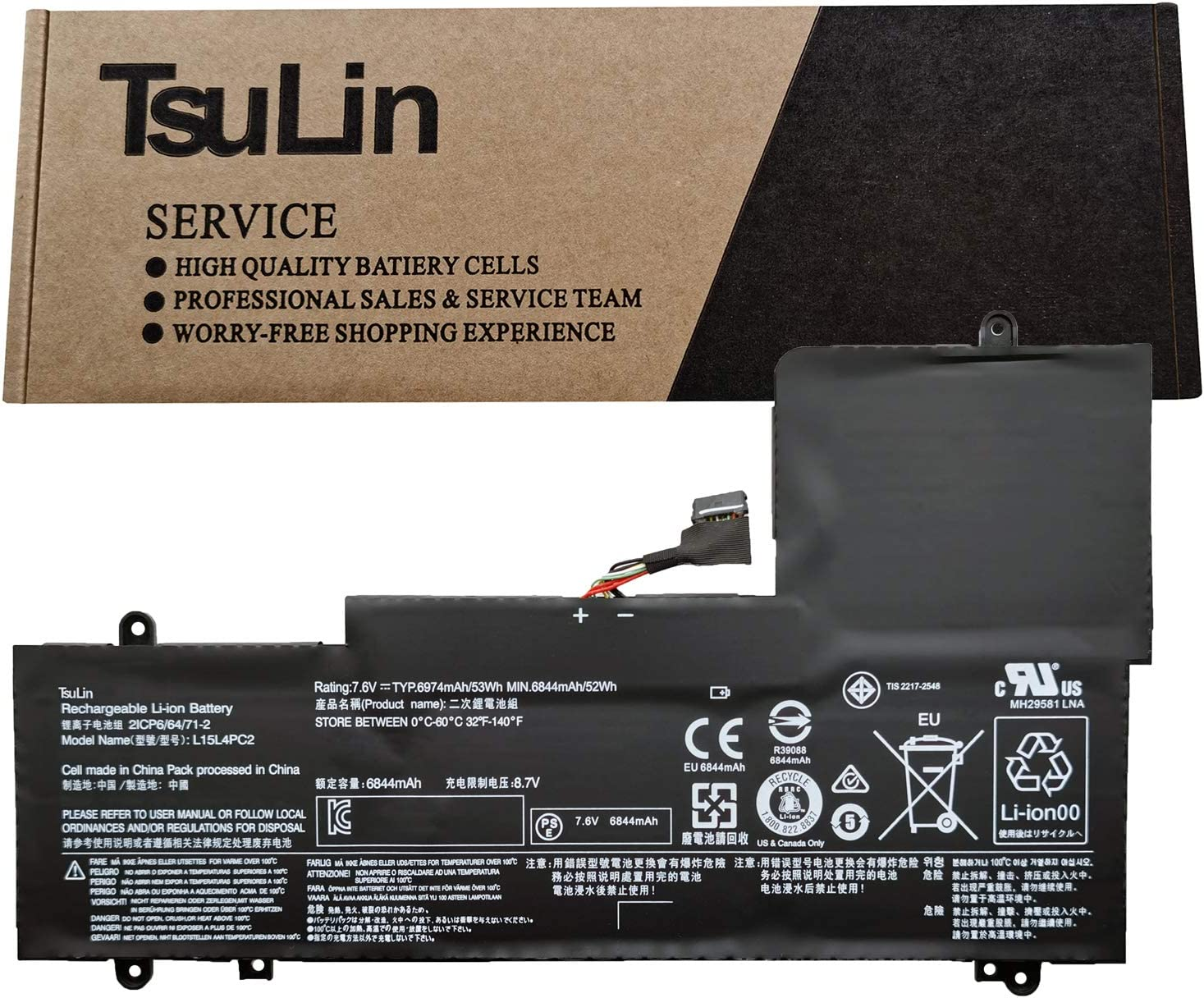 TsuLin L15L4PC2 Laptop Battery Replacement for Lenovo Ideapad Yoga 710-14IKB 710-14ISK 710-15IKB 710-15ISK Series Notebook L15M4PC2 5B10K90778 5B10K90802 7.6V 53Wh 6974mAh