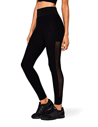 3ae0290780 AURIQUE Women's Seamless Mesh Sports Leggings, Black (Black), 10  (Manufacturer size