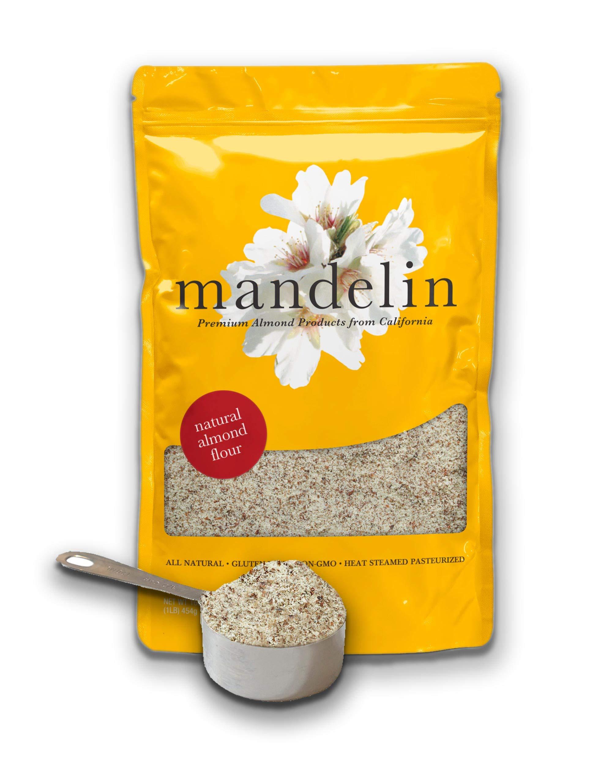 Mandelin Fresh Natural Almond Flour - 1 lb 100% Almond Flour / Meal, Super Fine Mill, With Skin, Non-GMO, Gluten Free, Vegan, Keto, Plant Based Diet Friendly (16 oz)
