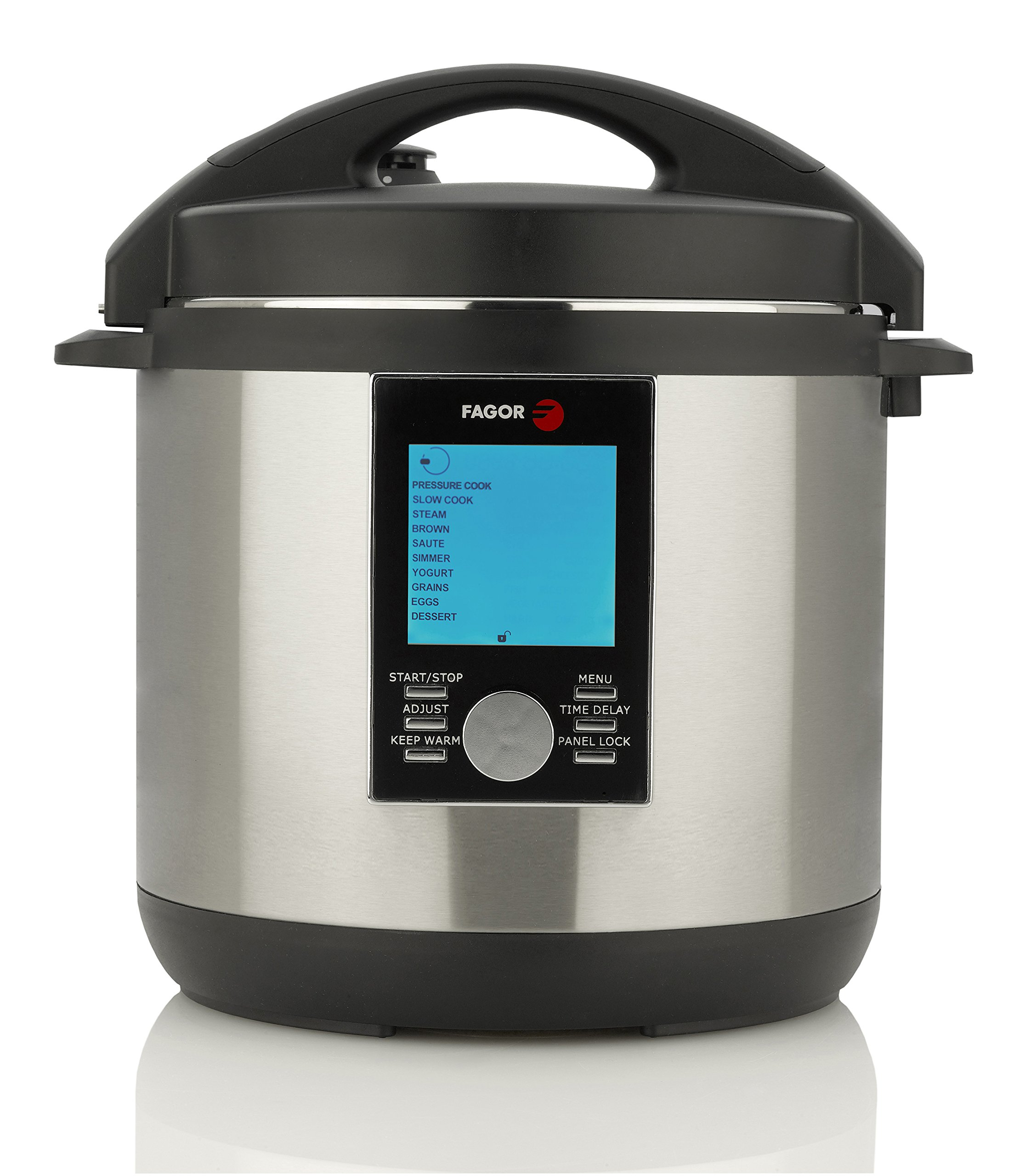 Fagor LUX LCD Multi-Cooker, 8 Quart - Digital Pressure Cooker, Slow Cooker, Rice Cooker and Yogurt Maker with 33 Cooking Programs - Stainless Steel - 935010063 by ASSOIAR (Image #1)