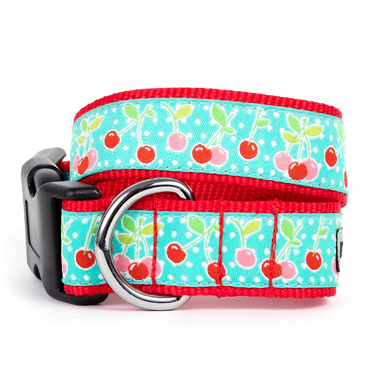 bluee, X-Small The Worthy Dog Red Cherry Pattern Adjustable Designer Pet Dog Collar, bluee, X-Small
