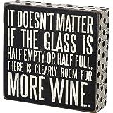 Primitives by Kathy 21243 Polka Dot Trimmed Box Sign, More Wine