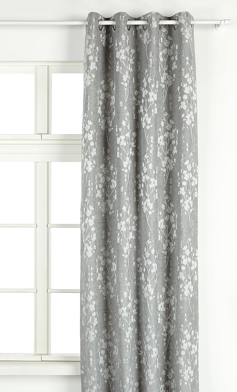Julian Charles Blossom Jacquard Gefüttert Vorhang mit Ösen, 229 cm Länge x 168 cm Breite, Polyester, Silber, 229 x 168 x 0,1 cm
