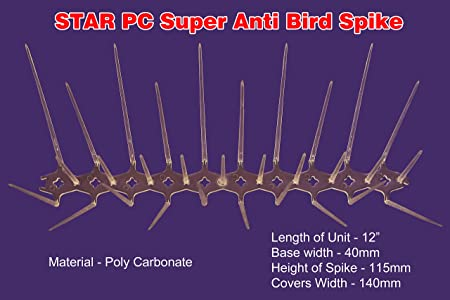 Star Nets Polycarbonate Anti - Bird Spikes 12 Pc Set Covers 12 RTF