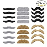 Whale 24pcs Self adhesive Assorted Fake Moustache Novelty Halloween Moustaches for Masquerade Party & Performance
