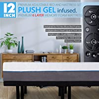 "12"" Split King Cool Gel Infused Plush Memory Foam Mattress with Premium Adjustable Bed Frame Combo, Massage, USB, Zero Gravity,Anti-Snore, Nightlight"