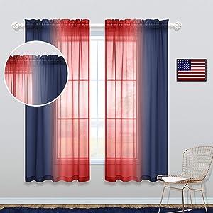 Boys Room Curtains 63 Inch Length 2 Panel Sets Rod Pocket Kids Boys Bedroom Rainbow Patrotic Classroom Decor for Students Navy Blue Red