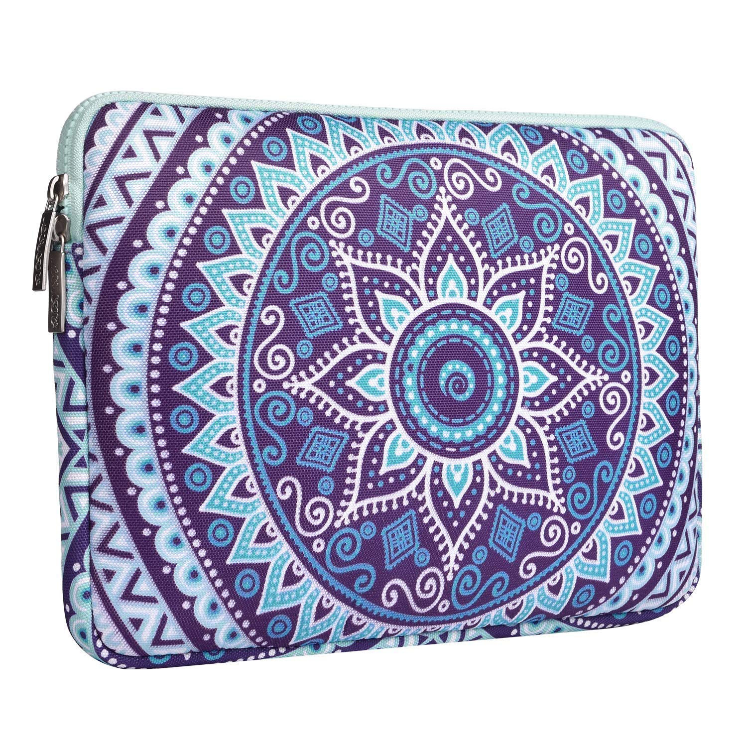 MOSISO Laptop Sleeve Compatible 13 Inch New MacBook Pro Touch Bar A1989 & A1706 & A1708 2018 2017 2016, Surface Pro 2017, Dell XPS 13, Canvas Mandala Tablet Bag with Small Case, Ultra Violet and Green by MOSISO (Image #4)