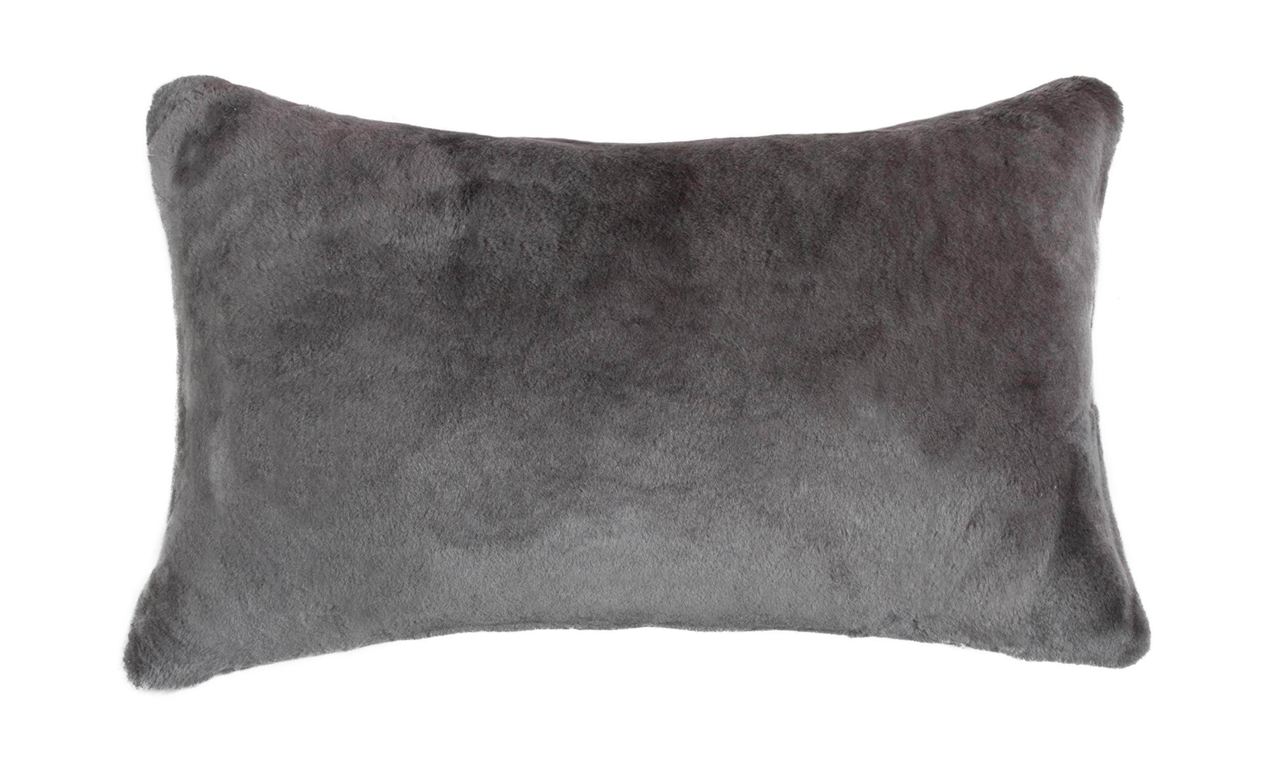 Natural Luxury Soft Premium Quality Durable Thick & Lush 100% Nelson Sheepskin Fur Pillow, Grey ( 12 in x 20 in ) by Natural Design Architecture Lifestyle N