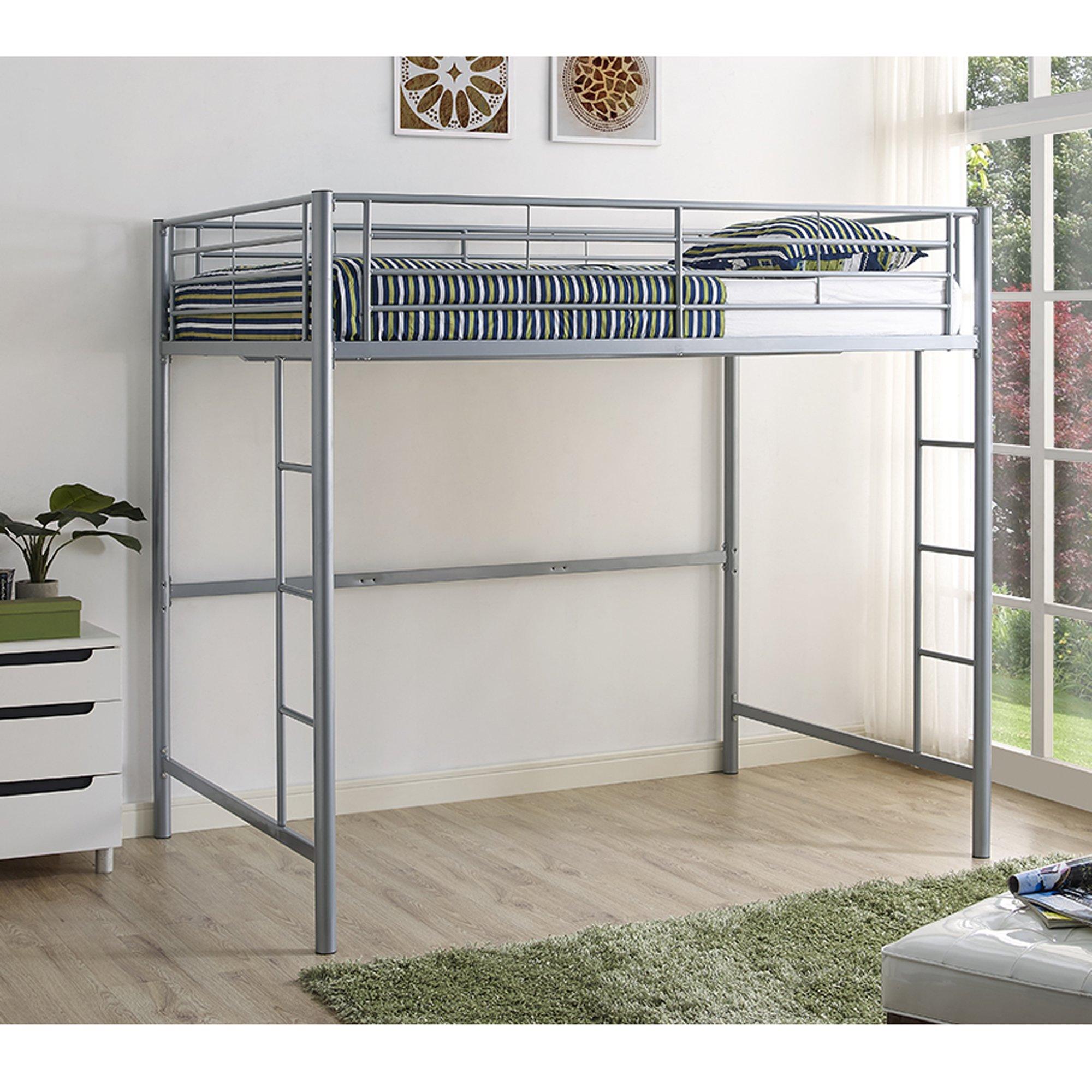 WE Furniture Full Metal Loft Bed - Silver