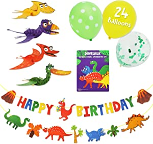 Kids Dinosaur Party Decor Supplies with Happy Birthday Banner, Dinosaur Banner, 24 Balloons and 4 Flying Dino Toys. Jurassic Dinasors Decorations Designed for Boys and Girls