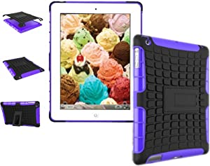 New Ipad Case Cover Shockproof Rugged Hard for New iPad 9.7 inch 2017 Version Model Numbers A1822 A1823 MP2G2LL/A MP2J2LL/A MPGT2LL/A MPGW2LL/A MP2F2LL/A MP2H2LL/A (Black + Purple)